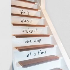 Trapsticker tekst - Life is special Enjoy it one step at a time! Mood Board Interior, Interior Styling, Stair Renovation, Half Painted Walls, Two Tone Walls, Stair Stickers, Dado Rail, Modern Entry, One Step