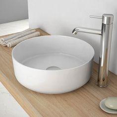 Vasque à poser ronde 35 cm céramique fine, Delicate