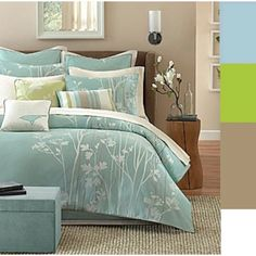 Master bedroom color palette. Like the wall color. Could go with anything