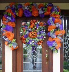 deco mesh halloween garland with zebra ribbon and by decoglitz - Deco Mesh Halloween Garland