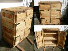 Pallet Floor Cabinet or Nightstand - 50+ DIY Pallet Ideas That Can Improve Your…