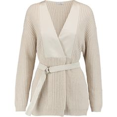 Brunello Cucinelli Satin-paneled ribbed-knit cashmere cardigan ($1,030) ❤ liked on Polyvore featuring tops, cardigans, cream, pink top, pink cashmere cardigan, brunello cucinelli cardigan, loose fit tops and loose tops
