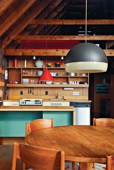 Lovely use of pendant lights inside the cool island retreat
