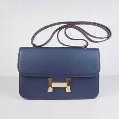 Hermes Constance Bag Gold Metal Navy Blue