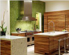 Green Splashback Tiles in Kitchen - nice effect