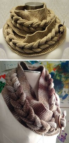 Free knitting pattern for Big Cable Cowl Lower pic is from slipstitchknits' project Circumference: 60 inches  Width: 11 inches (un-cabled version): approx 6 inches (cabled version) Annie's affiliate link tba