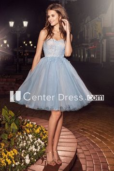 A-Line Short Strapless Tulle Backless Dress With Criss Cross And Appliques