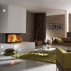 Modern Fireplace in Minimalist Living Room, neutrals with one pop of color