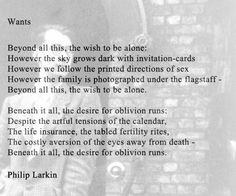 Wants by Philip Larkin