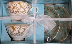 GRACE'S TEAWARE 2 TEACUP & SAUCER SETS  TURQUOISE & GOLD DESIGN…