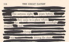 black-out poetry with the great gatsby
