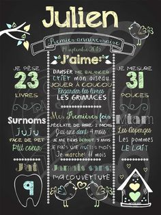 Affiche personnalisée 1er anniversaire Love shack (jaune) | 28,00$ #chalkboard Baby First Birthday, Happy Birthday, Baby Wish List, Chalkboard Paint, Project Life, Kids And Parenting, First Birthdays, Greeting Cards, Baby Shower