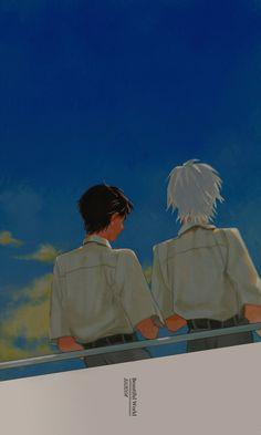 Shinji and Kaworu Manga Anime, Manga Art, Anime Guys, Anime Art, Wallpaper Animes, Animes Wallpapers, Neon Genesis Evangelion, Character Art, Character Design