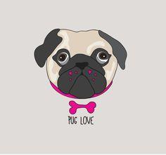 Pug illustration #pug #puglove