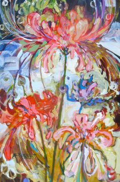 Susie Ranager Spider Lilies painting