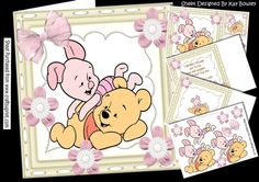 Little bear and friend having some fun with bow & flowers 8x8 mini kit, consists of 4 sheets, 8x8 card, decoupage topper and tags birthday 1, 2 & 3, matching left & right insert with verse, makes a lovely card