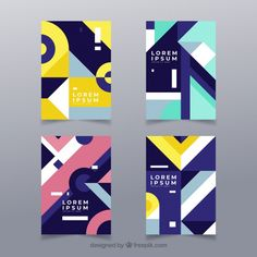 Modern cover template set with geometric design Free Vector - Graphic Sonic Geometric Graphic Design, Geometric Poster, Graphic Design Pattern, Geometric Designs, Design Poster, Book Design, Design Ppt, Shape Design, Corporate Design