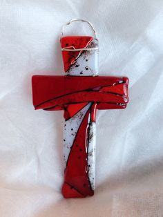 Fused Glass Cross in Shades of Red and White by cheecheesglass, $17.00
