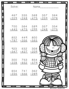 3 Digit Subtraction with Regrouping Printables 5th Grade Worksheets, School Worksheets, Math Sheets, Second Grade Math, Math For Kids, Addition And Subtraction, Winter Theme, Classroom Activities, Teaching Math