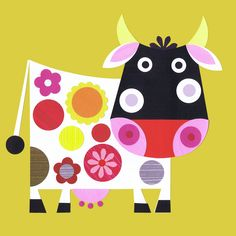 "I popped in to see my friend Annie yesterday, she owns ""Annie Hayward Art an. Cute Cows, Cow Art, Arte Popular, Whimsical Art, Cute Illustration, Art Plastique, Nursery Art, Art Lessons, Art For Kids"