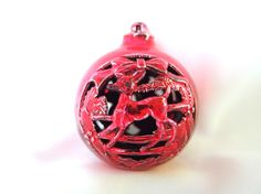 Fabulous, vintage, atomic Christmas ornament is so mid century! The red reindeer and snowman snowman filigree holiday ornamant is perfect if you