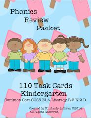 Phonics Review!! Enter for your chance to win 1 of 3. Kindergarten Phonics Review! 110 Task Cards! Common Core!  (36 pages) from Kimberly Sullivan on TeachersNotebook.com (Ends on on 01-31-2016) Fun and engaging task cards for review!.