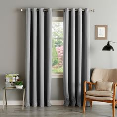 Aurora Home Thermal Insulated Blackout Grommet Top Curtain Panel Pair (63-Inch Dove), Grey, Size 52 x 63 (Polyester, Solid)