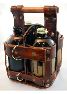LEATHER CARRIER for 4 Bottles of beer/wine от PekarStudios
