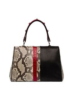 Python/Crocodile Arcade-Stripe Frame Satchel Bag, Natural/Black/Red (Roccia+Nero+Rosso) by Prada at Neiman Marcus.