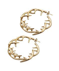 t h r e a db a r e — antler hoop earrings