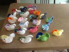 Easter chickens crocheted and have plastic egg body to fill with money, candy, or a small surprise.  $3.00 each order the colors you want!
