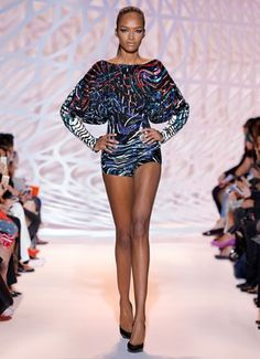 ZUHAIR MURAD -Belted carmine, sapphire and jade striped beaded romper with open back and bat sleeves