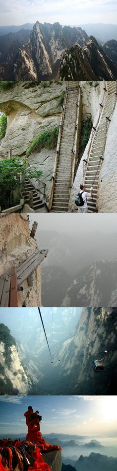 The most dangerous hike in the world. ~Mt. Hua Shan, China