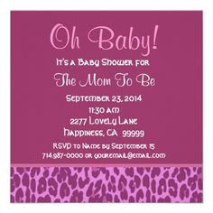 Pink and Berry Leopard Baby Shower Custom Invitations #babyshower #babyshowerinvites #itsagirl