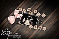 Ultrasound picture with scrabble tiles