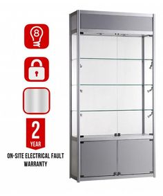 1000mm Glass and Storage Aluminium Display Cabinet Branded-GB-TC-1000-32