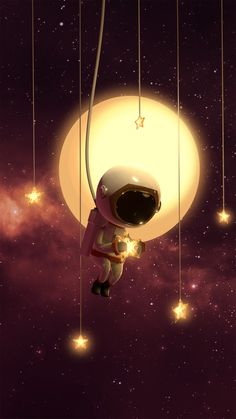 ArtStation - lil Cosmonaut and the Stars Mark Pigason Space Artwork, Wallpaper Space, Galaxy Wallpaper, Cartoon Wallpaper, Iphone Wallpaper, Astronaut Wallpaper, Outer Space, Cute Wallpapers, Astronomy