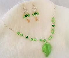 Peridot Leaf Set via Delicate Flower. Click on the image to see more!