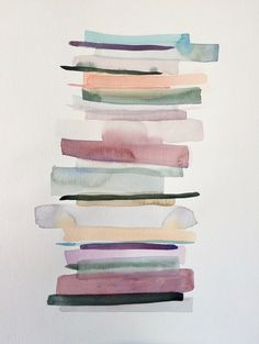 Stacks 2 - watercolour painting in pastel colours. Perfect in a minimalistic but warm environment - Atelier DVG Watercolor Paintings Abstract, Colorful Paintings, Indian Paintings, Abstract Oil, Oil Paintings, Painting Art, Landscape Paintings, Minimalist Artwork, Minimalist Painting