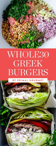 Whole30 Greek Burgers. 31 Grilling Recipes That Are on the Whole30 Diet #purewow #recipe #lunch #food #whole30 #dinner #grillingrecipes #summerrecipes #summerdinners #grillrecipes #whole30recipes #whole30diet #whole30meals #whole30dinners #healthydinners #greekburgers #whole30burgers