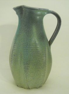 Turquoise Fluted Wood Fired Stoneware Pitcher by VoorheesPottery, $160.00