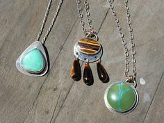 Bezel set pendant necklaces by Inner Earth Jewelry