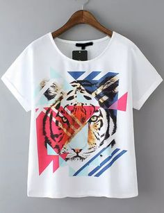 White Short Sleeve Tiger Print Casual T-Shirt -SheIn