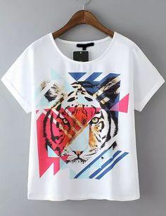 White Short Sleeve Tiger Print Casual T-Shirt -SheIn