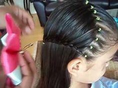 Peinado para niñas con ligas y trenza en media luna|Peinados fáciles y rápidos para niñas|LPH - YouTube