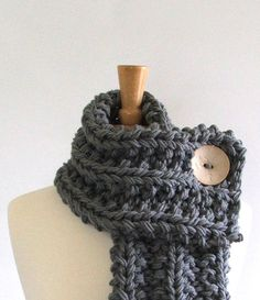 Chunky Knit Silver Gray Cowl Scarf with Large Cream Button. $39.00, via Etsy.