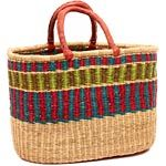 African Basket - Ghana Bolga - Oval Shopping Basket - 16.5 Inches Across - #50083