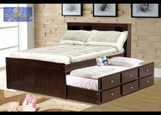 Best Master Full Bed with Twin Size Storage Trundle in Espresso Finish
