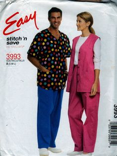 McCalls 3993  Easy Misses and Mens Scrubs Vest Shirt and  Pants sewing pattern by mbchills,