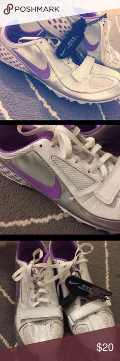 NIKE Track & Field Bought and wore 1 time! PERFECT CONDITION (some grass on bottom spikes) easily can be cleaned. Purple, silver and white.  Women's Size 8 Nike Shoes Athletic Shoes